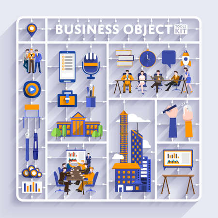 Illustration for Plastic model kit for concept business and workplace city.Flat design vector illustrate. - Royalty Free Image