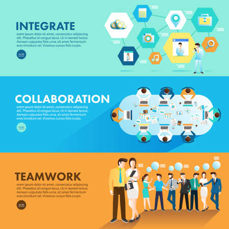 Ilustración de Flat design concept marketing integrate collaboration and teamwork for working together. Vector Illustrate - Imagen libre de derechos