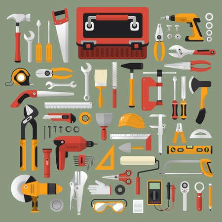 Ilustración de Flat design concept hand work tools box set.Vector illustrate. - Imagen libre de derechos