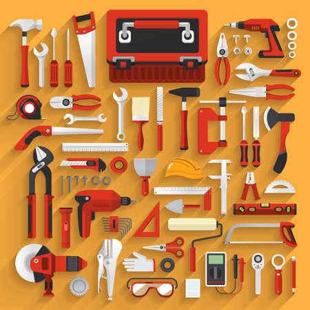 Illustration pour Flat design concept hand work tools box set.Vector illustrate. - image libre de droit
