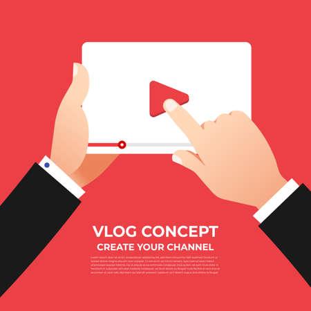 Ilustración de Flat design vlog concept. Create video content and make money. Vector illustrate  - Imagen libre de derechos