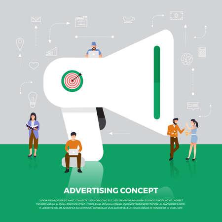 Ilustración de Flat design concept advertising digital marketing.  Group people development icon  Megaphone and internet device meaning to advertising online. Vector illustrate. - Imagen libre de derechos