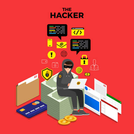 Illustration pour Flat design concept hacker activity cyber thief on internet device. Vector illustrate. - image libre de droit