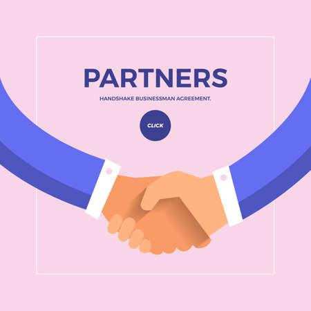 Ilustración de Flat design concept check hands to partner business. Vector illustrate. - Imagen libre de derechos