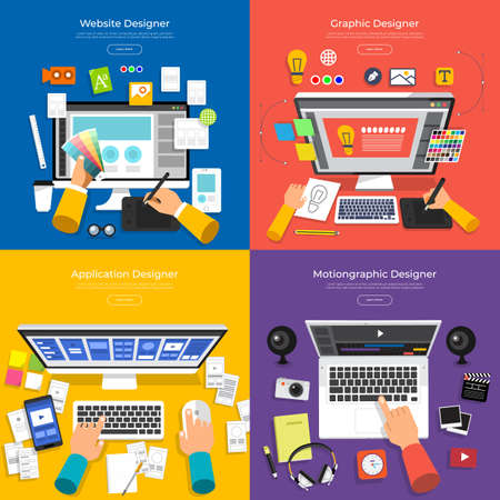 Ilustración de Flat design concept vector set designer of website, graphic, application and motion graphic. Vector illustration. - Imagen libre de derechos