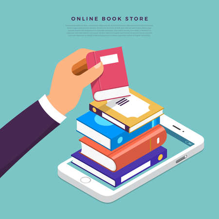 Ilustración de Flat design concept online books store. Hand pick book from internet device. Vector illustrate. - Imagen libre de derechos
