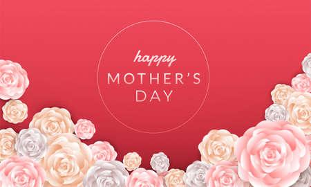 Ilustración de Happy mother's day layout design with roses, lettering, paper cut and texture background. Vector illustration. - Imagen libre de derechos
