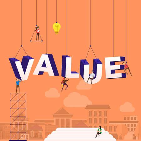 Illustration pour Flat design concept people working for building text VALUE. Vector illustration. - image libre de droit