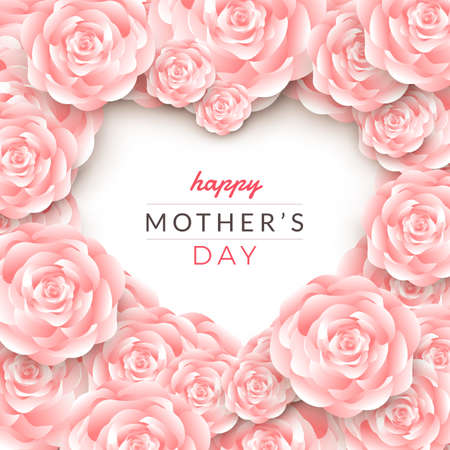 Illustration for Happy mother's day layout design with roses, lettering, paper cut and texture background. Vector illustration. - Royalty Free Image