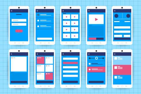 Illustration pour UX UI Flowchart. Mock-ups  mobile application concept flat design. Vector illustration - image libre de droit