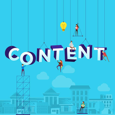 """Ilustración de Flat design concept small people working typography word """"CONTENT"""". Vector illustrate. - Imagen libre de derechos"""