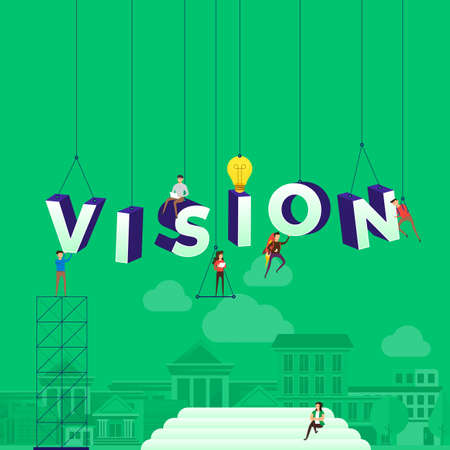 Illustrazione per Flat design concept people working for building text VISION. Vector illustration. - Immagini Royalty Free