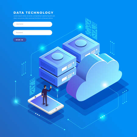 Illustration pour Isometric flat design concept cloud technology data transfer and storage. Connecting information. Vector illustrations. - image libre de droit