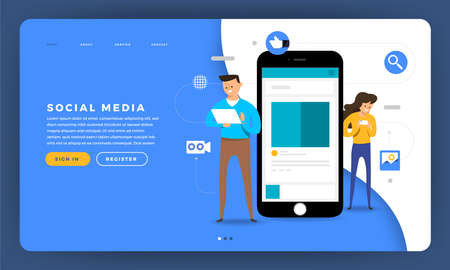 Photo pour Mock-up design website flat design concept social media platform with human touch mobile device and smartphone screen. Vector illustration. - image libre de droit