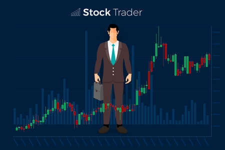 Ilustración de Flat design concept stock exchang and trader. Financial market business with graph chart analysis. Vector illustrations. - Imagen libre de derechos