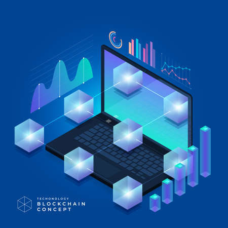 Illustration for Flat design concept blockchain and cryptocurrency technology. Composition for layout design website banner. Isometric vector illustration. - Royalty Free Image