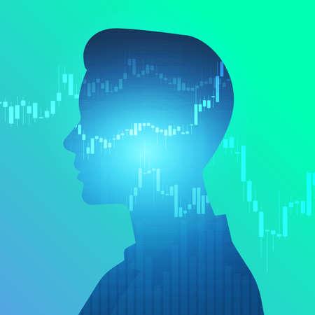 Illustration pour Flat design concept silhouette human show graph stock exchange. Vector illustrations. - image libre de droit