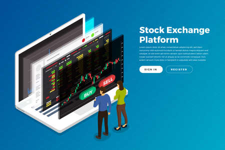 Illustration pour Flat design concept stock exchang and trader. Financial market business with graph chart analysis. Isometric Vector illustrations. - image libre de droit