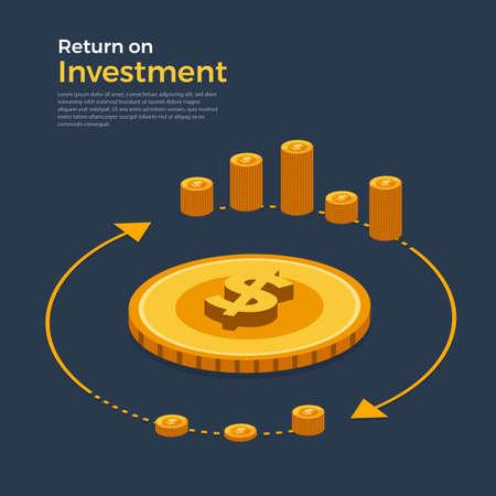 Ilustración de Flat design concept return on investment. Topic of financial and money business growth. Isometric Vector illustrations. - Imagen libre de derechos