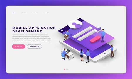 Illustration pour Mock-up design website flat design concept mobile app development with developer coding and working together. Isometric Vector illustration. - image libre de droit