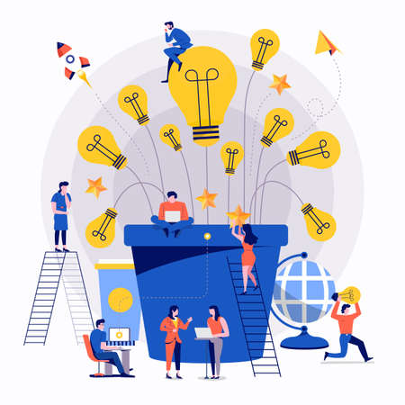 Ilustración de Illustrations flat design concept teamwork small people businessman working together for building success creative idea advertising. Vector illustrate. - Imagen libre de derechos
