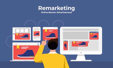 Illustration pour Flat design concept digital marketing retargeting or remarketing. online banner ad network. Vector illustrations. - image libre de droit