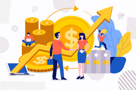 Ilustración de Illustrations design concept creative financial growth money investment via successful team business man and woman handshake. Vector illustrate. - Imagen libre de derechos