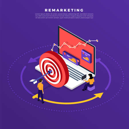 Ilustración de Isometric flat design concept digital marketing retargeting or remarketing. online banner ad network. Vector illustrations. - Imagen libre de derechos