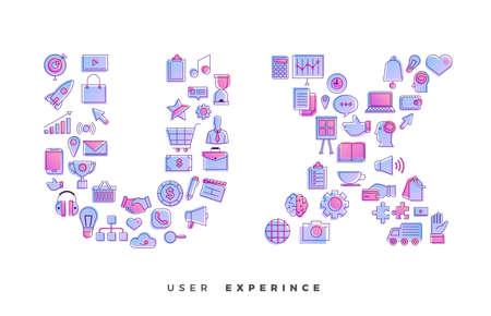 Ilustración de Flat design concept vector icons combination to shape of word UX ( User Experience ). Vector illustrations. - Imagen libre de derechos