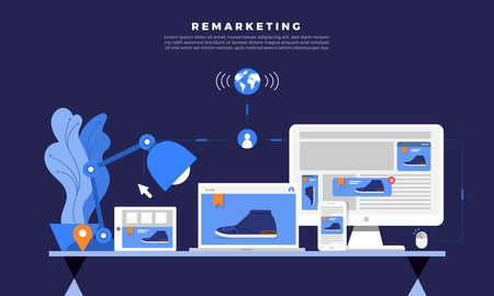 Ilustración de Flat design concept digital marketing retargeting or remarketing. online banner ad network. Vector illustrations. - Imagen libre de derechos
