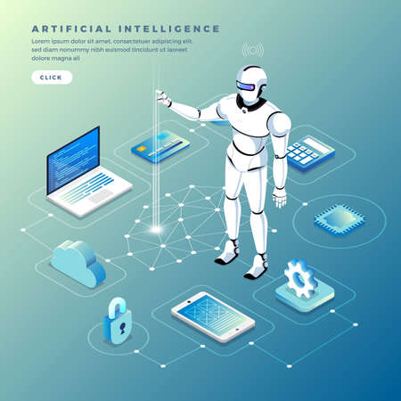 Illustration pour Illustrations concept  artificial intelligence AI. Technology working with smart brain computer and machine connecting device. Isometric vector illustrate. - image libre de droit