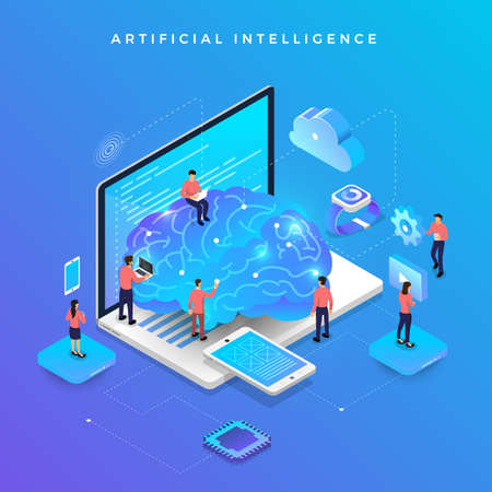 Illustrazione per Illustrations concept  artificial intelligence AI. Technology working with smart brain computer and machine connecting device. Isometric vector illustrate. - Immagini Royalty Free