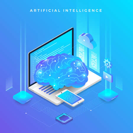 Ilustración de Illustrations concept  artificial intelligence AI. Technology working with smart brain computer and machine connecting device. Isometric vector illustrate. - Imagen libre de derechos