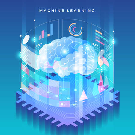 Ilustración de Illustrations concept machine learning via artificial intelligence with technology analysis data and knowledge . Vector isometric  illustrate. - Imagen libre de derechos