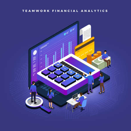 Illustrazione per Business concept teamwork of peoples working development isometric financial business via calculator and money. Vector illustrations. - Immagini Royalty Free