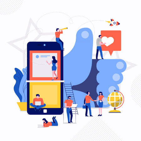 Illustrazione per Illustrations flat design concept small people working together create big icon about social engagement. Vector illustrate. - Immagini Royalty Free