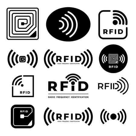 Illustration pour Vector set icon symbol concept RFID. radio frequency identification. illustrations - image libre de droit