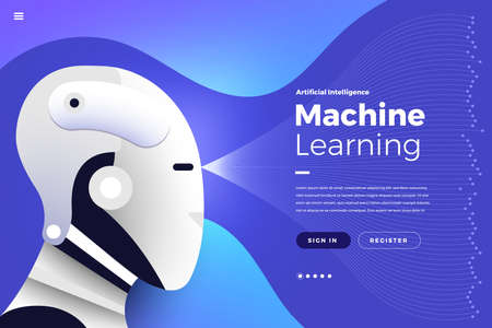 Illustrazione per Illustrations concept  artificial intelligence AI. Technology working with smart brain computer and machine connecting device. Isometric vector illustrate. Website design landing page mockup. - Immagini Royalty Free