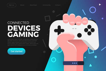 Illustration pour Illustrations flat design concept game online streaming platform can playing multiple device with internet browser. Playing online console controller. Vector illustrate. - image libre de droit