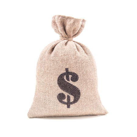 Photo for Sacking money bag with dollar symbol print tied with a string isolated on white background - Royalty Free Image