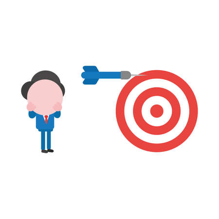 Illustrazione per Vector cartoon illustration concept of faceless businessman mascot character with red and white bulls eye and blue dart symbol icon and miss the mark. - Immagini Royalty Free