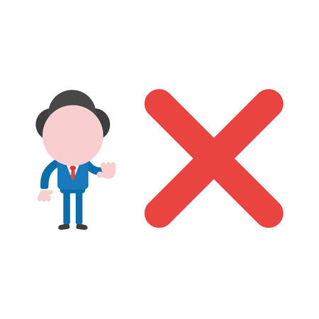 Illustrazione per Cartoon illustration concept of faceless businessman mascot character with red x mark symbol icon and gesturing no sign. - Immagini Royalty Free