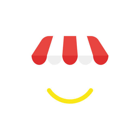 Illustration pour Flat design illustration concept of red and white shop or store awning symbol icon with yellow smiling mouth. - image libre de droit