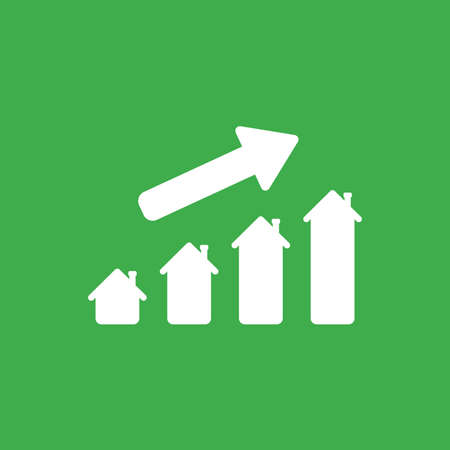 Illustration pour Flat vector icon concept of house graph moving up on green background. - image libre de droit