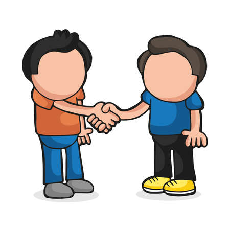 Ilustración de Vector hand-drawn cartoon illustration of two men standing shaking hands. - Imagen libre de derechos