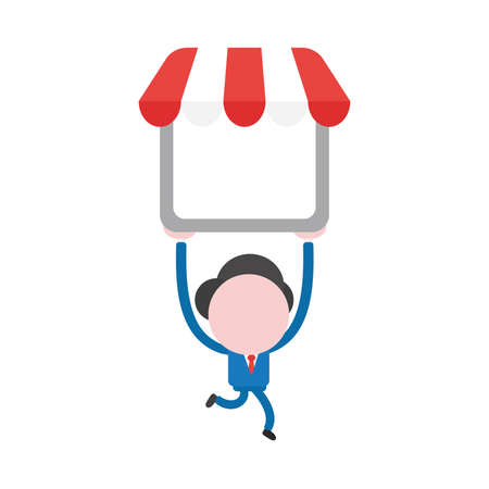 Illustrazione per Vector illustration businessman character running and carrying shop store. - Immagini Royalty Free