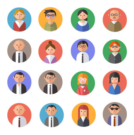 Illustrazione per Set of  people avatars in flat  material design style. - Immagini Royalty Free