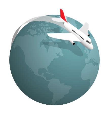 Illustration pour Plane flying around the globe, vector illustration on white - image libre de droit