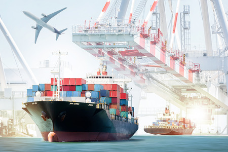 Photo for Container Cargo ship and Cargo plane for logistic import export background and transport industry. - Royalty Free Image