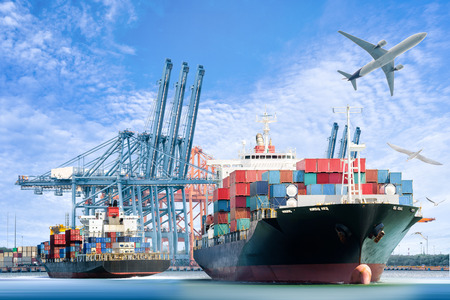 Photo pour Container Cargo ship and Cargo plane for logistic import export background and transport industry. - image libre de droit
